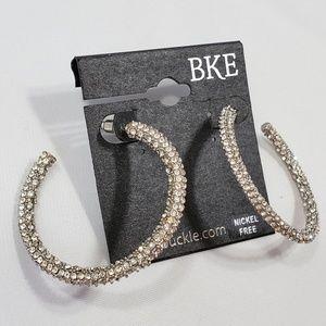 BKE Rhinestone Embellished Glitzy Hoop Earrings